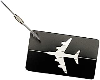 Customized Metal Travel Luggage Tags Suitcase Tags with Strings { 2 Pack } , Aluminum Alloy , Stainless Steel String . (Bl...