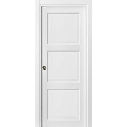 Sliding French Pocket Door 32 x 80 inches with Panels | Lucia 2661...