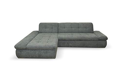 Domo Collection Moric Ecksofa / Eckcouch mit Bett / Sofa mit Schlaffunktion in L-Form Couch mit Armlehnfunktion/ 300x172x80 cm / Schlafsofa in Grau