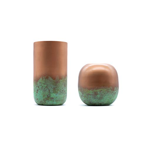 samui | Art Deko Vase in Kupfer Optik mit Patina Veredlung - Industrial Style, Modern, Rustikal (Rund)