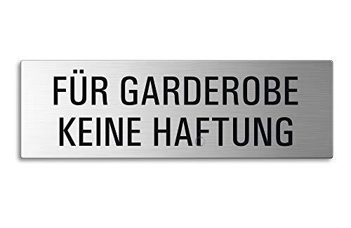 Edelstahl Schild Türschild | 255x80 mm | selbstklebend | Keine Haftung für Garderobe | 26016