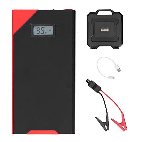 Car Jump Starter, 12000mAh 800A Paquete de refuerzo de batería de automóvil de carga rápida portátil con pantalla LCD y linterna ajustable, Banco de energía de batería con pantalla digital con caja de