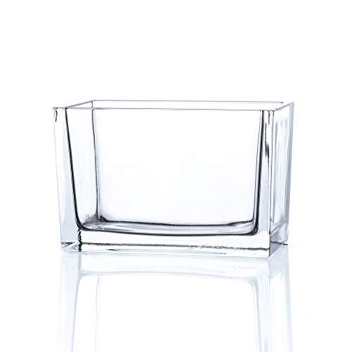 CRISTALICA Glasschale Rechteck Pflanzschale Dekoschale Glas Transparent L 15,5cm