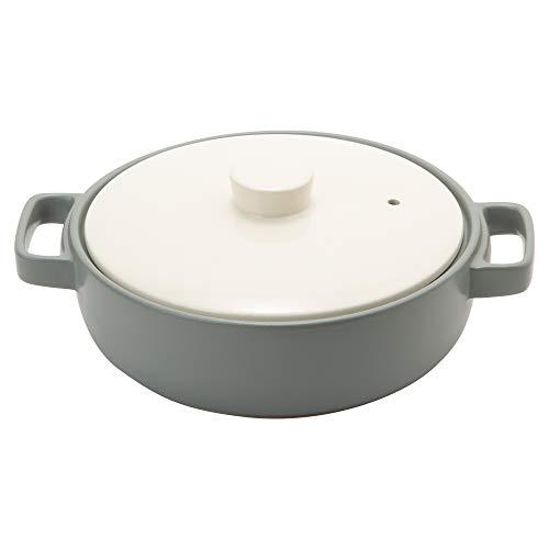 TAMAKI 土鍋 トート 3-4人用 グレー 直径29.7×奥行23.6×高さ7.6cm IH・直火・電子レンジ・オーブン対応 T-885284