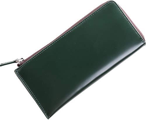 [三京商会] doob London メンズ 長財布 コードバン 本革 L字ファスナー 薄型 : グリーン