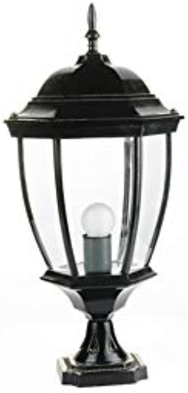 Wetterfeste Gartensule Scheinwerfer Europische Retro Dekorative Stehlampe Im Freien Für Firmengarten Einfahrt Tor Park Sule Laterne E27 (Farbe   schwarz)