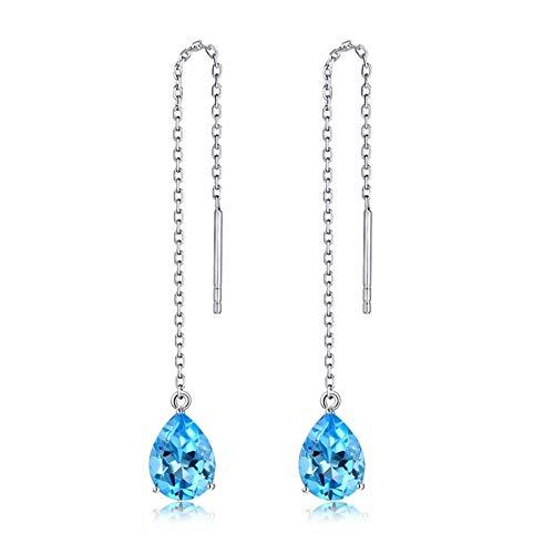 Beydodo Pendientes Boda Mujer Plata Azul,Pendientes de Oro Blanco 18 Kilates Gota de Agua Topacio Azul 2.6ct