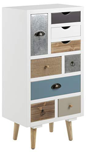 AC Design Furniture Cómoda Suwen Cajones Multicolores, Patas de Pino, Capa Transparente, 9 Piezas, Blanco, 48 x 32 x 98 cm