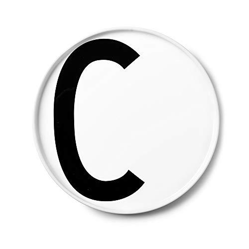 Design Letters Assiette Personnalisée en Blanc Porcelaine Fine de A-Z - C – Assiette Decorative, Idéal décorer, comme Cadeau Personnel, ou pour Les Repas, Compatible Lave-Vaisselle, D: 20cm