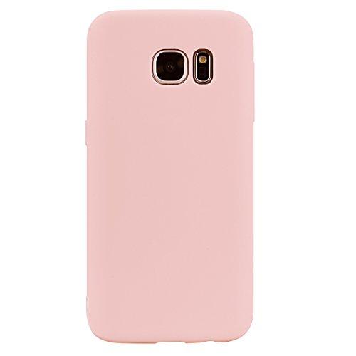 cuzz Coque Samsung Galaxy S7+{1 Pièces Protège Écran en Verre Trempé}Couleur Unie Premium Flexible Souple Silicone TPU Etui Mince Ultra-Lumière Anti-dérapante {Rose Clair}