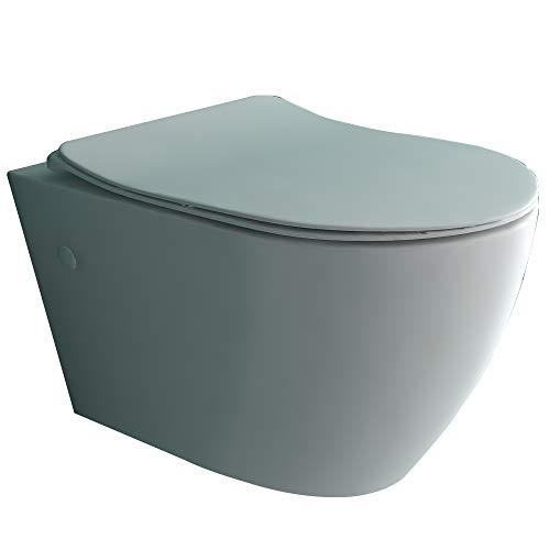 Alpenberger Spülrandloses Hänge-WC | Quick-Release WC-Sitz mit Absenkautomatik | Tiefspül-WC mit Antibakterielle Beschichtung | Kein Überspritzen durch ideale Wasserführung | inkl. Befestigungsset