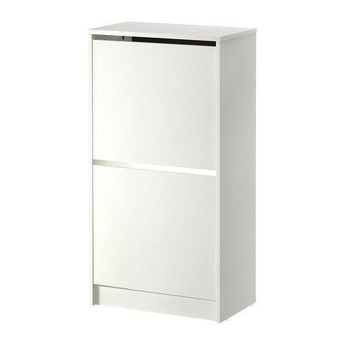 IKEA BISSA Schuhschrank mit 2 Fächern, weiß, 49 x 93 cm