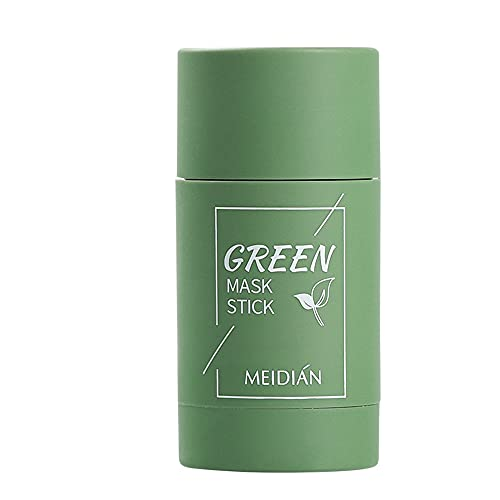 SPINCADDY Green Tea Purifying Clay Stick Mask, Deep Cleansing Oil Control Solid Mask, Eggplant Hydrating Blackhead Remover Facial Mask Repair and Shrink Pores, Suitable for All Skin Types (Green)