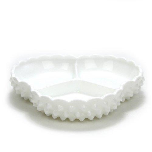 Hobnail Milk Glass by Fenton, Glass Relish, 3 Part