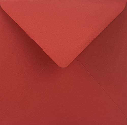 25 Rot quadratische Briefumschläge ohne Fenster Spitzklappe 153x153 mm 115g Sirio Color Lampone farbige Umschläge quadratisch Brief-Kuverts bunt für Hochzeit Geburtstag Taufe Weihnachten