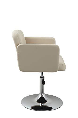 Clubsessel Sessel Kunstleder Creme Esszimmerstuhl Lounge Sessel höhenverstellbar drehbar Duhome 0493 - 3