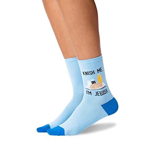HOTSOX Womens Knish Me Im Jewish Socks 1 Pair, Blue, Womens 9-11