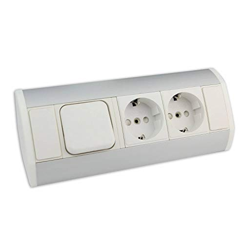 Möbel-Steckdose weiß mit 2x Schuko + Lichtschalter – hochwertige Ecksteckdose aus Aluminium ideal für Arbeitsplatte, Tischsteckdose oder Unterbausteckdose Steckdosenelement