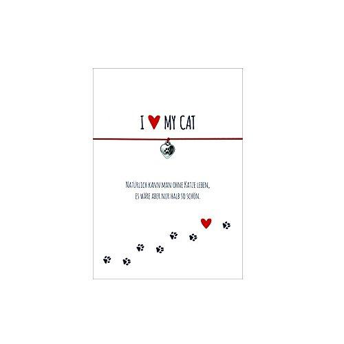 Glücksschmiedin Armband für Katzenliebhaber mit Pfote Anhänger versilbert, elastischem Textilband in rot und liebevoller Karte