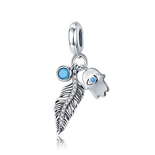 Abalorio de plata de ley 925 con diseño de corazón y plumas de ángel, para pulsera y mujer Abalorio de mano Fátima.