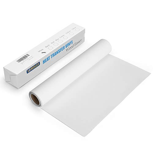 SOMOLUX HTV Iron-on Vinyl 12inch x12feet Heat Transfer Vinyl Roll Compatible with Silhouette and Cricut by Somolux Easy to Cut & Weed Iron on Vinyl Heat Press, DIY Design for T-Shirts Glossy White