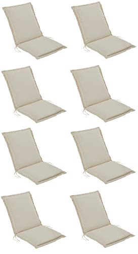 Pure Home & Garden 8er Set Niederlehner Gartenstuhl Auflagen Cream, Made IN Europe, 100 x 50 x 6 cm