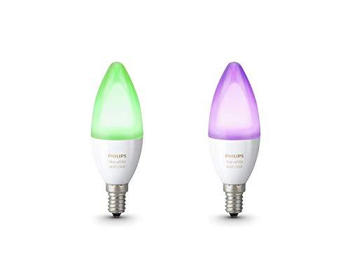 Philips Hue White and Color Ambiance - Pack de 2 bombillas LED E14, 6.5 W, iluminación inteligente, bombillas, cambian de color, compatible con Apple Home Kit y Google Home