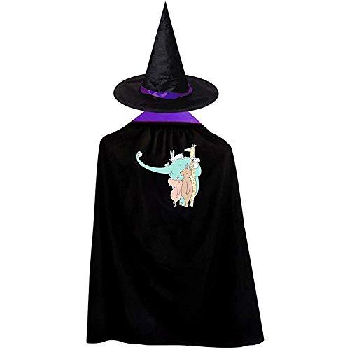Materiale di prima qualità - Questo mantello e cappello da strega di Halloween è realizzato al 100% in poliestere, morbido e confortevole. Taglia unica: questo divertente mantello da mago creativo con cappello è adatto per bambini dai 3 ai 12 anni (t...