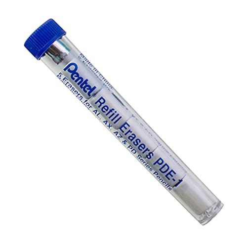 Pentel Refill Eraser For AL, AX and PD Series Pencils 5 Pcs/Tube, Box of 12 (PDE-1)