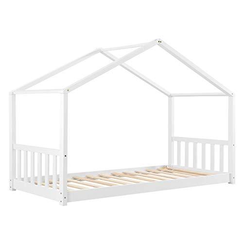 ArtLife Kinderbett Paulina 90 x 200 cm mit Lattenrost und Dach - Bett für Kinder aus massivem Holz - Hausbett in Weiß