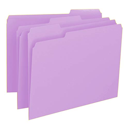Smead Colored File Folder, 1/3-Cut Tab, Letter Size, Lavender, 100 per Box (12443)