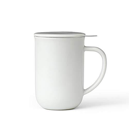 Viva Scandinavia Tasse à thé en Porcelaine avec infuseur Amovible en Acier Inoxydable, thé en Vrac, thé à Feuilles, poignée Isolante, 0.5 L, Blanc