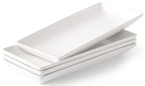 Porcelain Serving Platter Rectangular Plate / Tray for Party, 14-Inch Large White Microwave And Dishwasher Safe Set of 4