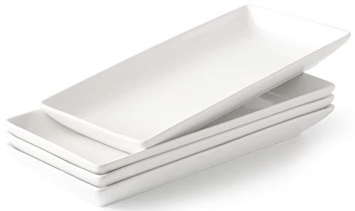 Porcelain Serving Platters, Rectangular White Microwave And Dishwasher Safe Set of 4
