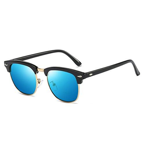 Rocf Rossini sonnenbrille polarisiert herren damen Retro Vintage klassisch Halber Rahmen Männer Frauen Anti Reflexion UV400 (Schwarz/Blau)