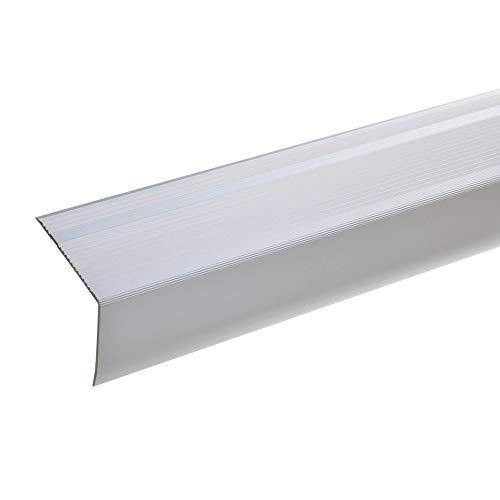 acerto Aluminium Treppenwinkel-Profil - 55x69mm * Rutschhemmend * Robust * Leichte Montage | Treppenkanten-Profil (100 cm, silber)