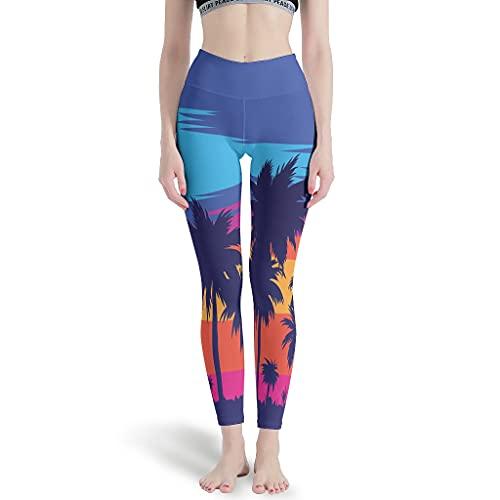 Pantalones de yoga para correr suaves de las mujeres de la puesta de sol del coco de la palma