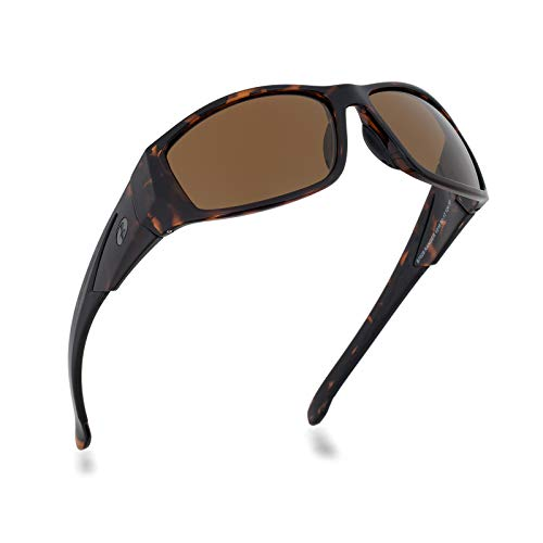 Bnus glass lens sport polarized sunglasses for men, womens brown B-15 wrap style shades for driving to sight fishing w/Case for Sports (Tortoise/Brown B15, B-7036/Polarized)