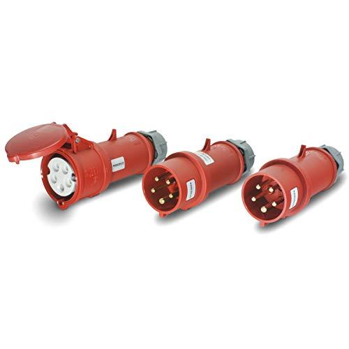 CEE 2+1 Stecker & Kupplung Set 400V/32A 5p IP44 Standard & mit Phasenwender - Mennekes