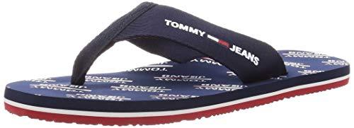 Tommy Hilfiger Tommy Jeans Print Beach Sandal, Chanclas para Hombre, Azul (Twilight Navy C87), 41 EU