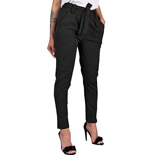 WAEKQIANG Pantalones Finos De Gasa Delgados Casuales Pantalones Verdes De Color Caqui Negros De Cintura Alta para Mujer Pantalones De Mujer