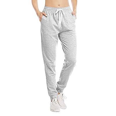 HISKYWIN Womens Athletic Yoga Lounge Pants Active Joggers Sweatpants Drawstring Cotton Sweat Pants Pockets Pants-F18017A-Light Grey-S
