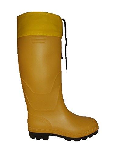 Rainwear-Shop gelbe PVC Stiefel Gummistiefel Regenstiefel mit Stulpe für Damen und Herren (38)