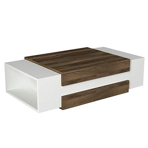 Alphamoebel 1421 Nora Couchtisch Beistelltisch Wohnzimmertisch Tisch modern, Holz, Weiß Walnuss, Möbelstück für Wohnzimmer, flach, 2 Ablagefächer, Designertisch, 110 x 57 x 31 cm