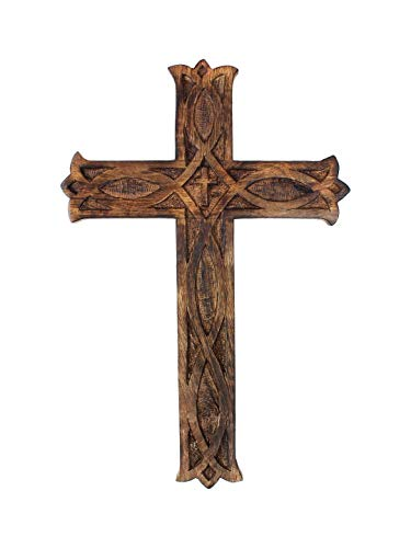 Ajuny Wooden Wall Cross Plaque Hanging Celtic Hand Carvings Religious Home Decor Size 12x8 Inch