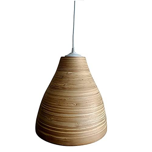 Lámpara de Bambú. Lámpara de techo colgante. Suspensión de bambú natural. Las Lámparas de Bambú son ligeras, frescas y cálidas. (Natural, 30cm Altura x 30 Diámetro)
