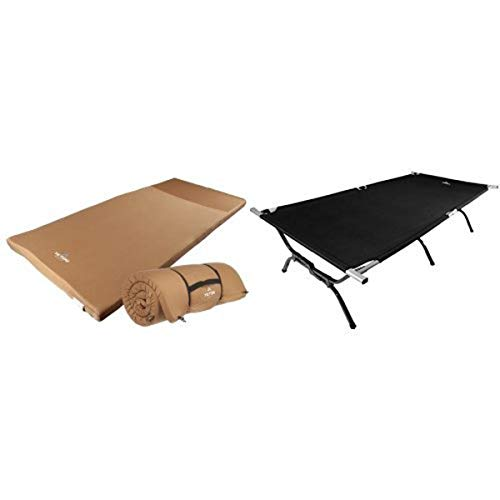 TETON Sports Outfitter XXL Camp Pad, Extra Large Sleeping Pad Perfect for Base Camp, Camping and Hunting and TETON Sports Outfitter XXL Camping Cot Perfect for Base Camp and Hunting - Limited Edition Bundle