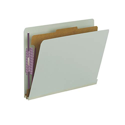 Smead 100% Recycled End Tab Pressboard Classification File Folder with SafeSHIELD Fasteners, 1 Divider, 2