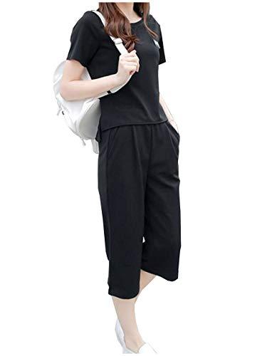 [ライオンガーデン] LG158 BK L ブラック 黒色 黒 クロ かわいい 可愛い 可愛目 かわいめ キュート フェミニン セット 5サイズ展開 おしゃれ 部屋着 セットアップ きれいめ 着痩せ レディース コーデ 半袖 体型カバー 夏 ナツ サマー 半そで tシャツ パンツ ズボン ルームウェア ジャージ ヨガウェア 運動着 体操服 体操着 お洒落 オシャレ カジュアル ウェア ルーム