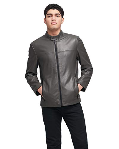 DKNY Men's Modern Lamb Leather Racer Jacket, Grey, Medium